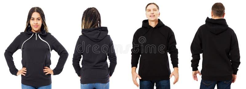 前面后面和后方黑运动衫视图 美丽的黑人妇女和人模板衣裳的被隔绝的印刷品和拷贝空间的  免版税图库摄影