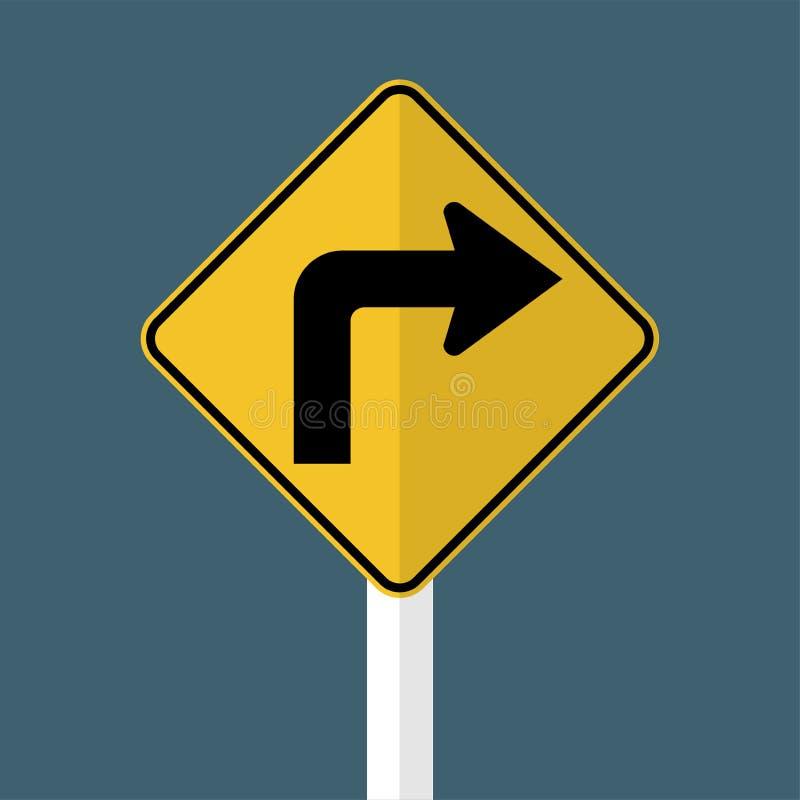 前面向右转的交通标志 皇族释放例证