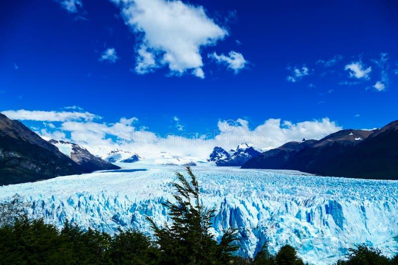 前面和佩里托莫雷诺冰川高的看法  免版税库存图片