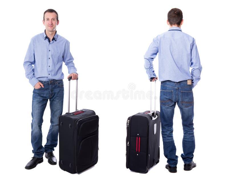 前面和后面观点的中部带着手提箱的年迈的商人是 免版税库存照片