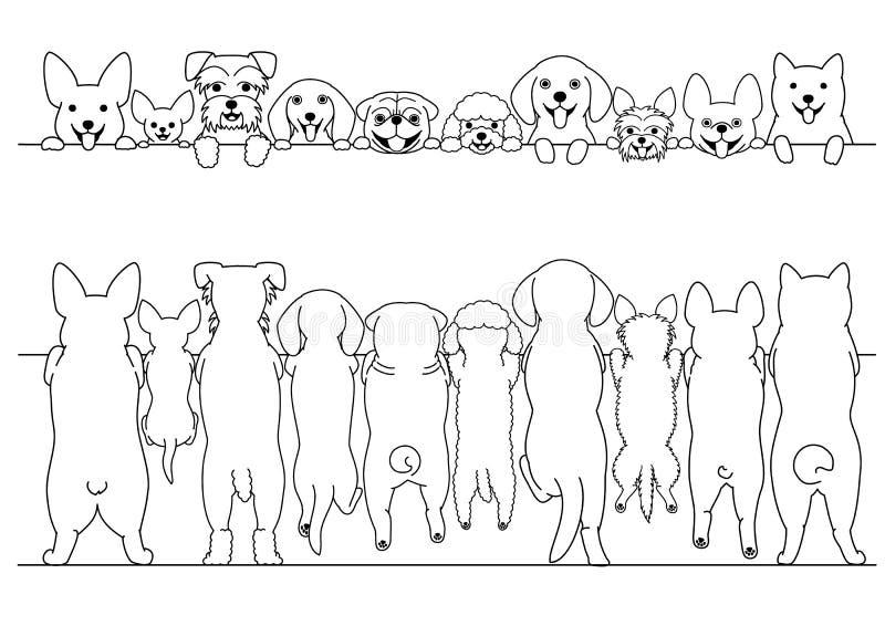 前面常设小的狗和后面线艺术边界集合 库存例证