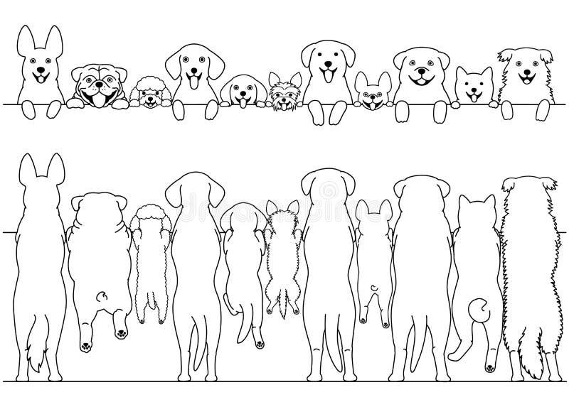 前面常设的狗和后面边界集合 向量例证