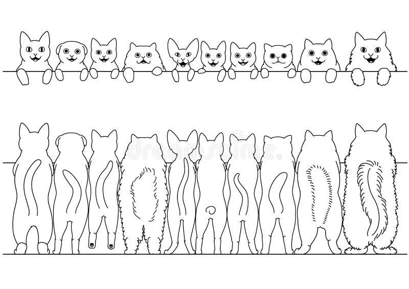 前面常设的猫和后面边界集合 库存例证