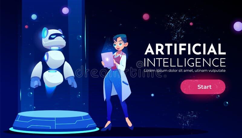 前面熊猫机器人霓虹横幅的妇女科学家 库存例证