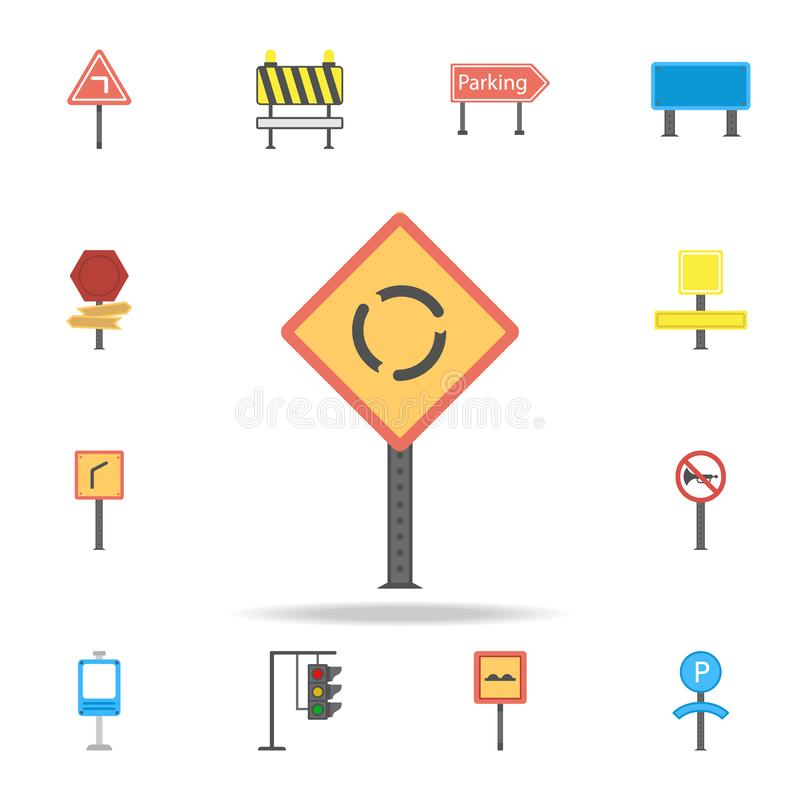 前面环形交通枢纽色的象 详细的套颜色路标象 优质图形设计 其中一个汇集象为 库存例证