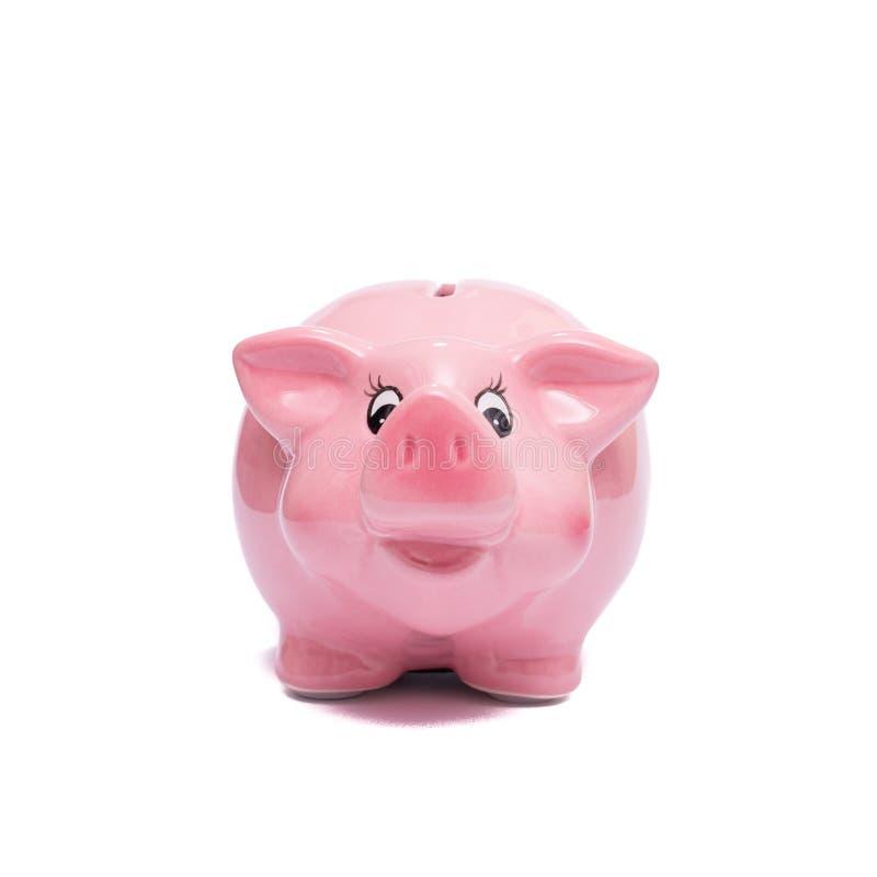 从前面的桃红色存钱罐 图库摄影