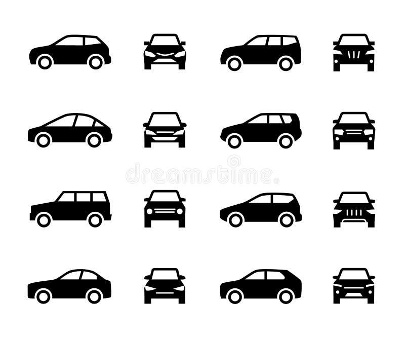 前面的汽车和侧视图标志 在白色背景隔绝的车黑剪影传染媒介象 皇族释放例证