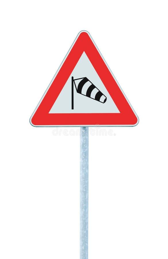 前面突然的旁边可能横风路标,被隔绝的交通警告飞行袜子侧风sidewind标志,危险风向袋 库存图片