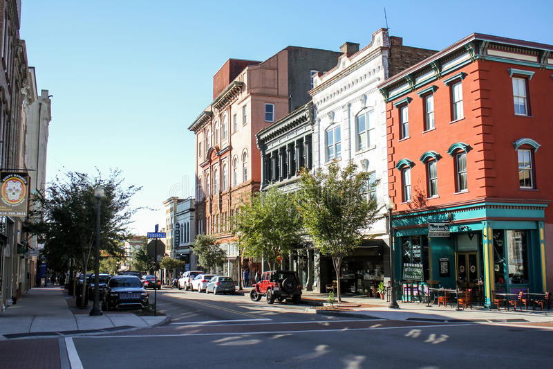 前面街道,威明顿, NC 免版税库存图片