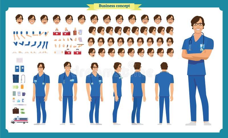 前面,边,后面看法给字符赋予生命 医生字符创作设置有各种各样的看法、面孔情感、姿势和姿态 皇族释放例证