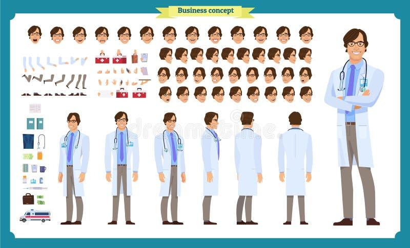 前面,边,后面看法给字符赋予生命 医生字符创作设置有各种各样的看法、面孔情感、姿势和姿态 向量例证