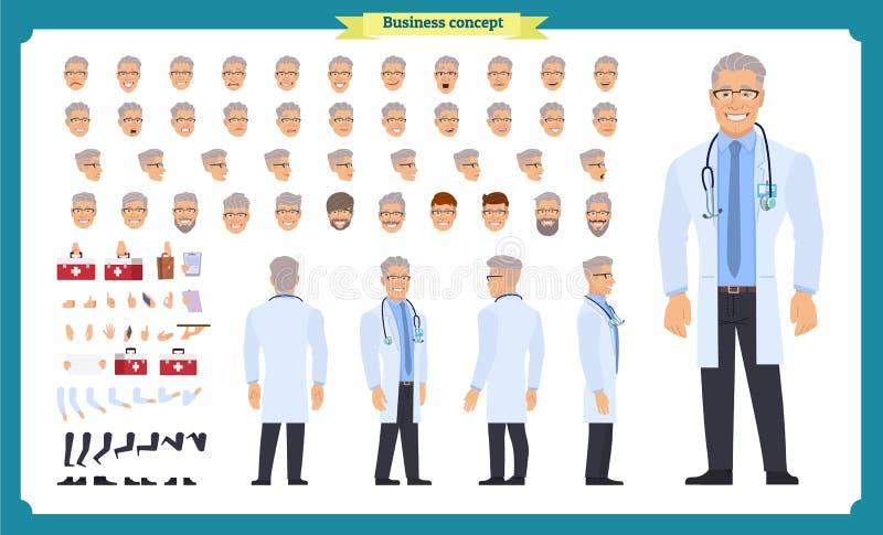 前面,边,后面看法给字符赋予生命 医生字符创作设置有各种各样的看法,面孔情感,发型,姿势 向量例证