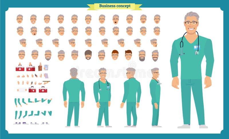前面,边,后面看法给字符赋予生命 医生字符创作设置有各种各样的看法,面孔情感,发型,姿势 库存例证