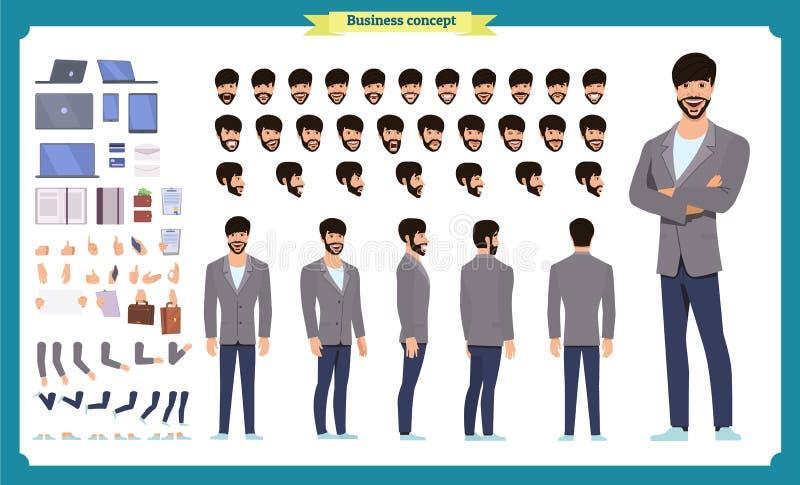 前面,边,后面看法给字符赋予生命 经理字符创作设置有各种各样的看法,发型,面孔情感,姿势 向量例证