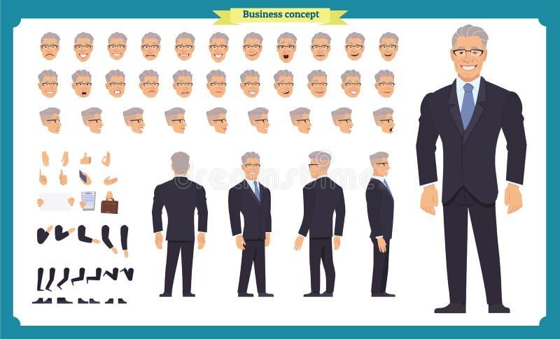 前面,边,后面看法给字符赋予生命 经理字符创作设置有各种各样的看法,发型,面孔情感,姿势 皇族释放例证