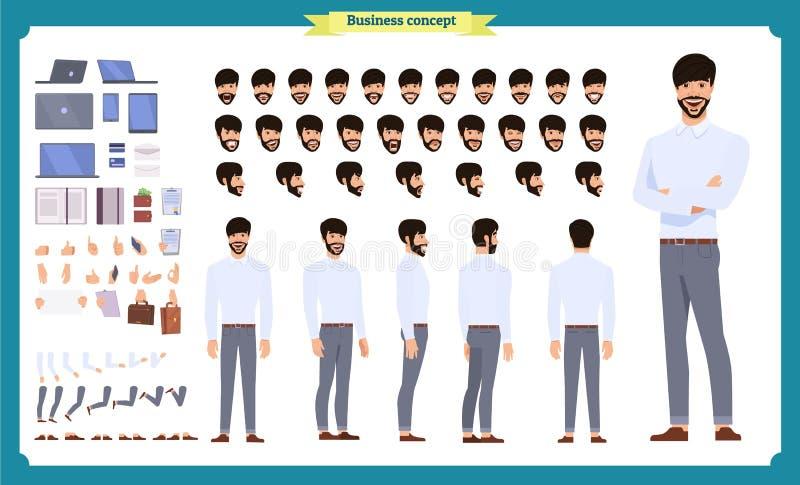 前面,边,后面看法给字符赋予生命 经理字符创作设置有各种各样的看法,发型,面孔情感,姿势 库存例证