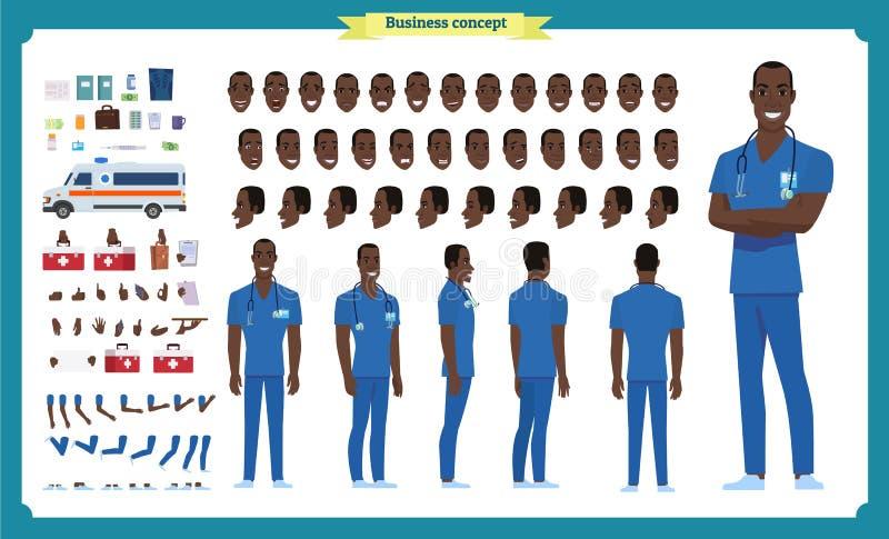 前面,边,后面看法给黑美国字符赋予生命 医生字符创作设置有各种各样的看法,面孔情感,姿势 皇族释放例证