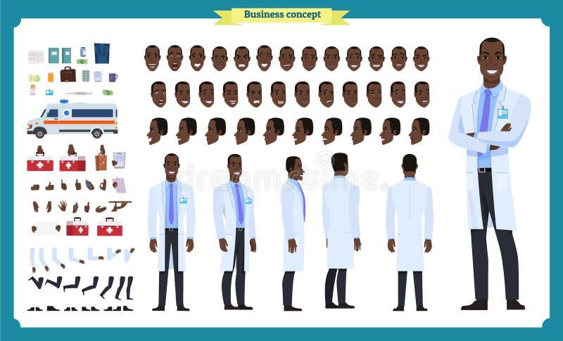 前面,边,后面看法给黑美国字符赋予生命 医生字符创作设置有各种各样的看法,面孔情感,姿势 向量例证