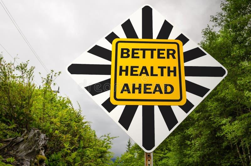 前面更好的健康路标 免版税库存图片