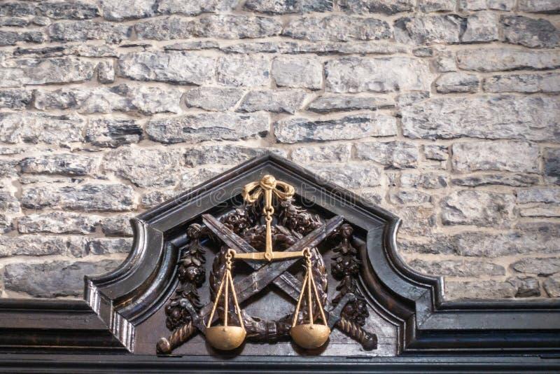剑强制执行的正义在跟特城堡,比利时 库存照片