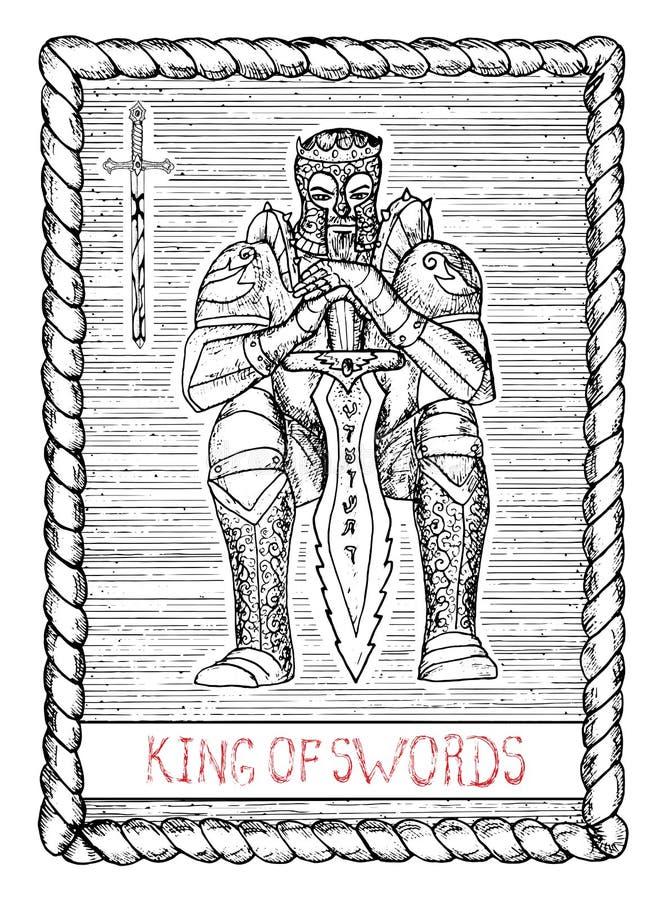 剑的国王 占卜用的纸牌 库存例证