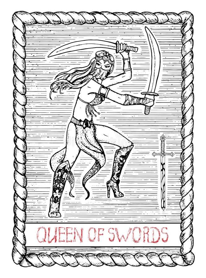 剑的女王/王后 占卜用的纸牌 库存例证