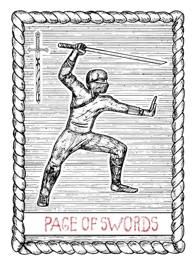 剑页  占卜用的纸牌 向量例证