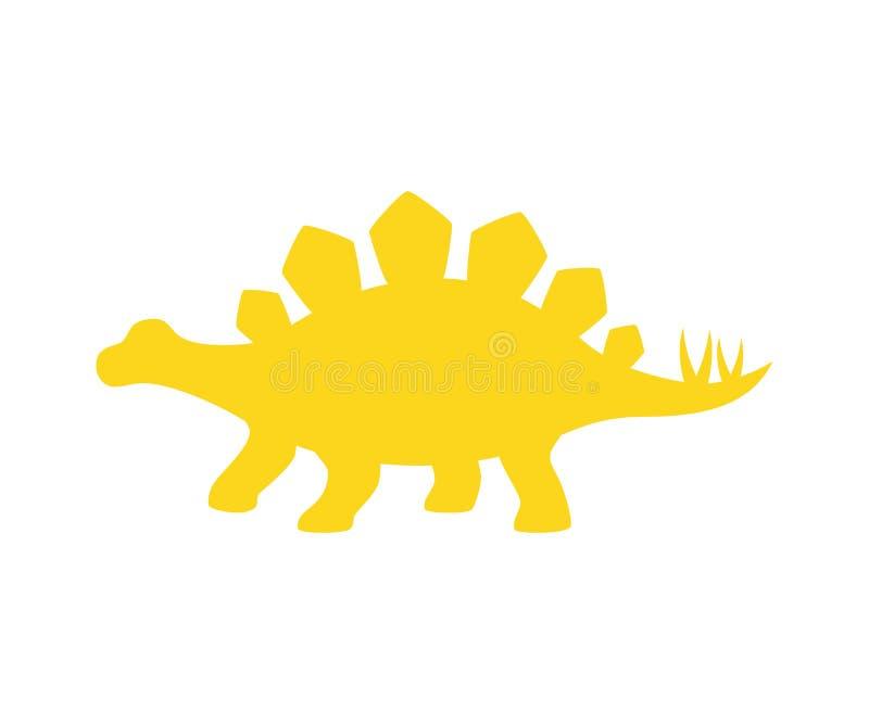 剑龙传染媒介剪影 被隔绝的恐龙剑龙黄色剪影 皇族释放例证