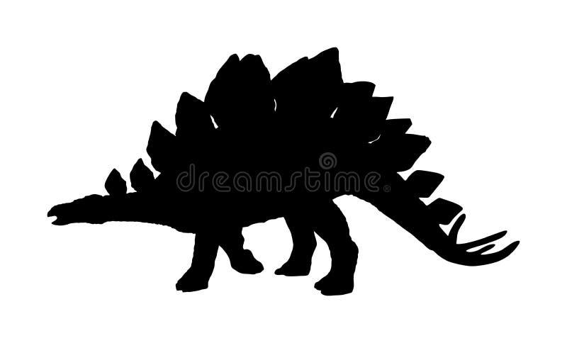 剑龙在白色隔绝的传染媒介剪影 恐龙标志 侏罗纪时代 迪诺标志 向量例证