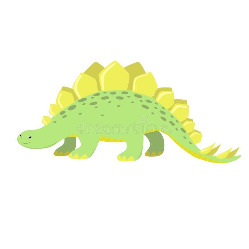 剑龙恐龙 隔绝在白色背景动画片例证 o 皇族释放例证