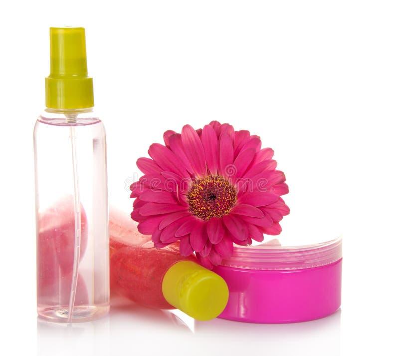 剥皮,化妆水、面霜和花的手段 库存照片