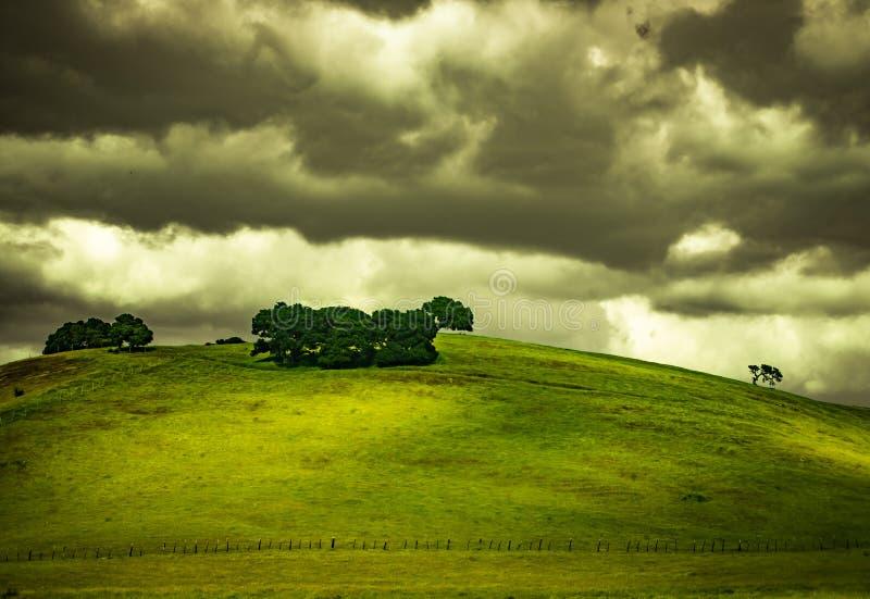 剧烈的云彩在春天 免版税库存图片