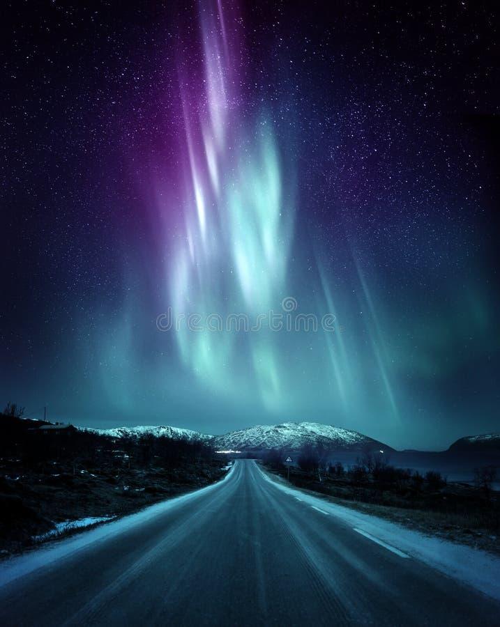 剧烈的北极光极光在挪威 库存照片