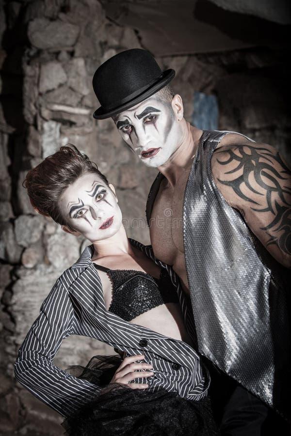 剧烈的Cirque夫妇 库存照片