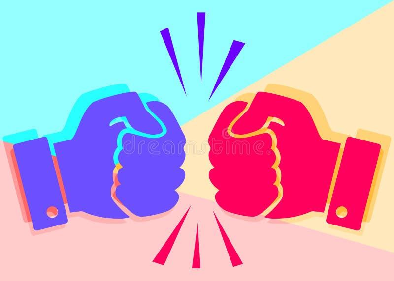 剧烈竞争的概念 平的被放置的艺术两手被握紧入拳头在桃红色和蓝色背景碰撞 向量例证