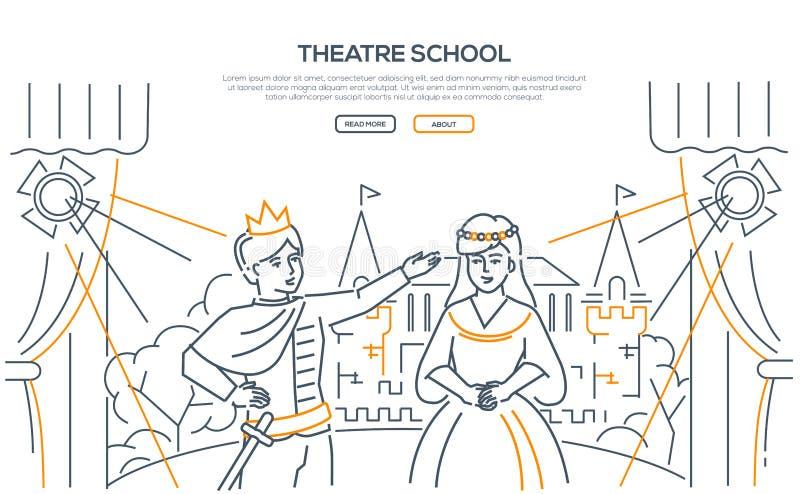 剧院学校-现代线设计样式网横幅 库存例证
