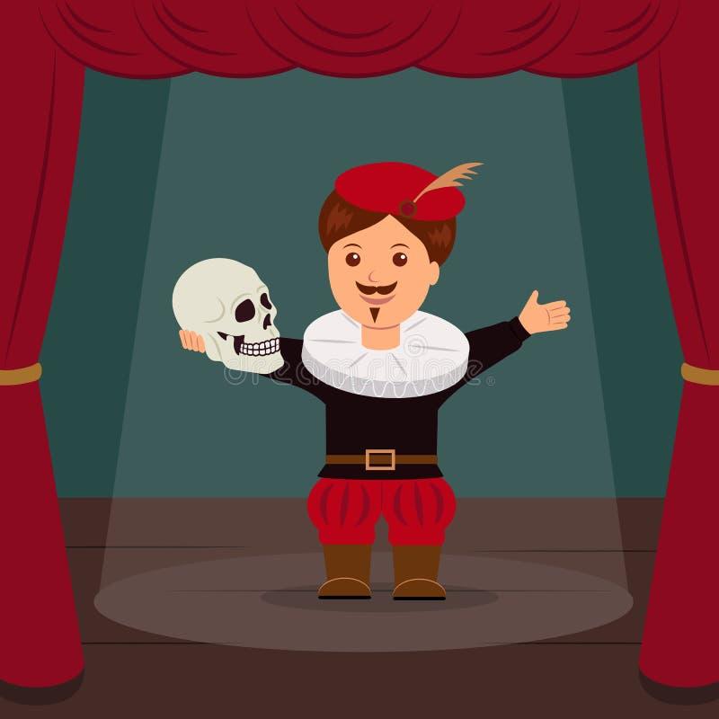 剧院的场面的演员,扮演角色哈姆雷特 概念世界剧院天 皇族释放例证