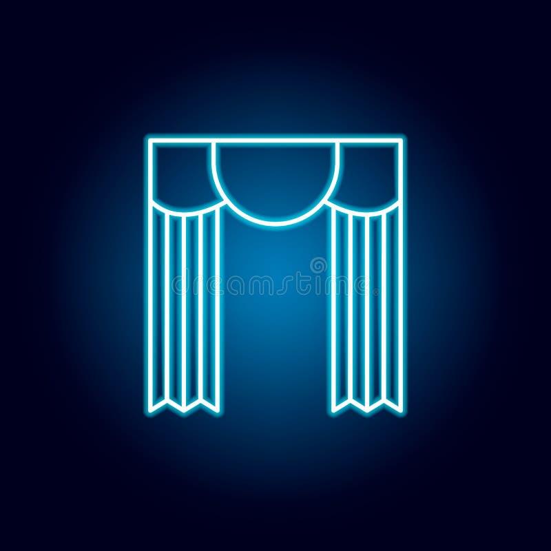 剧院,帷幕,在霓虹样式的概述象 教育例证线象的元素 标志,标志可以为网使用, 向量例证