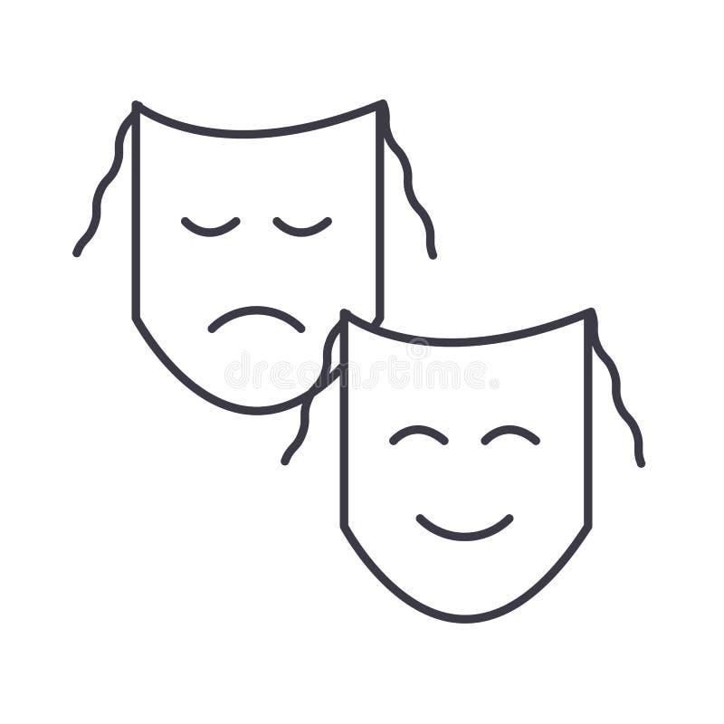 剧院,面具显示传染媒介线象,标志,在背景,编辑可能的冲程的例证 向量例证
