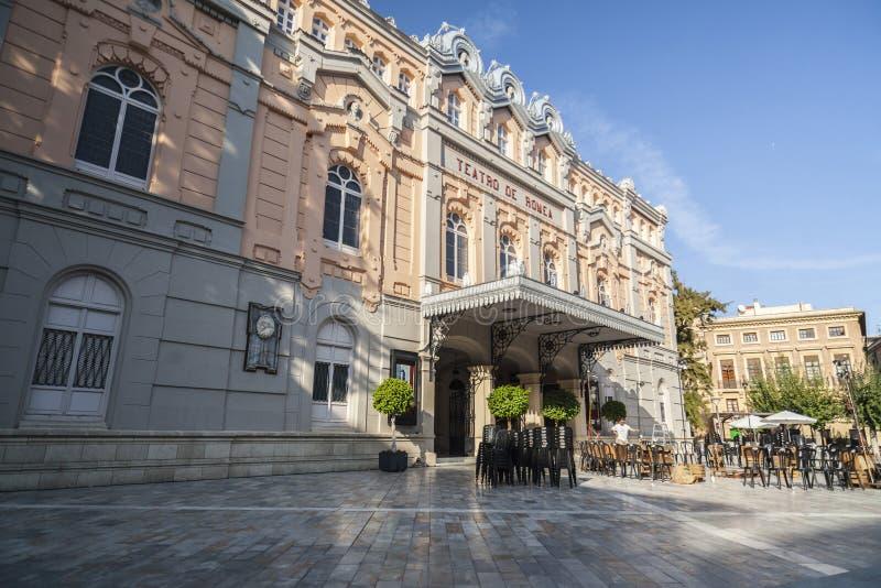 剧院, Teatro romea大厦,外部主要门面,穆尔西亚,西班牙 免版税库存图片