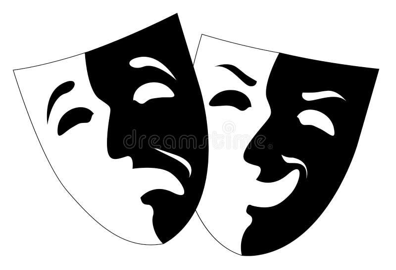 剧院黑白情感面具, 向量例证