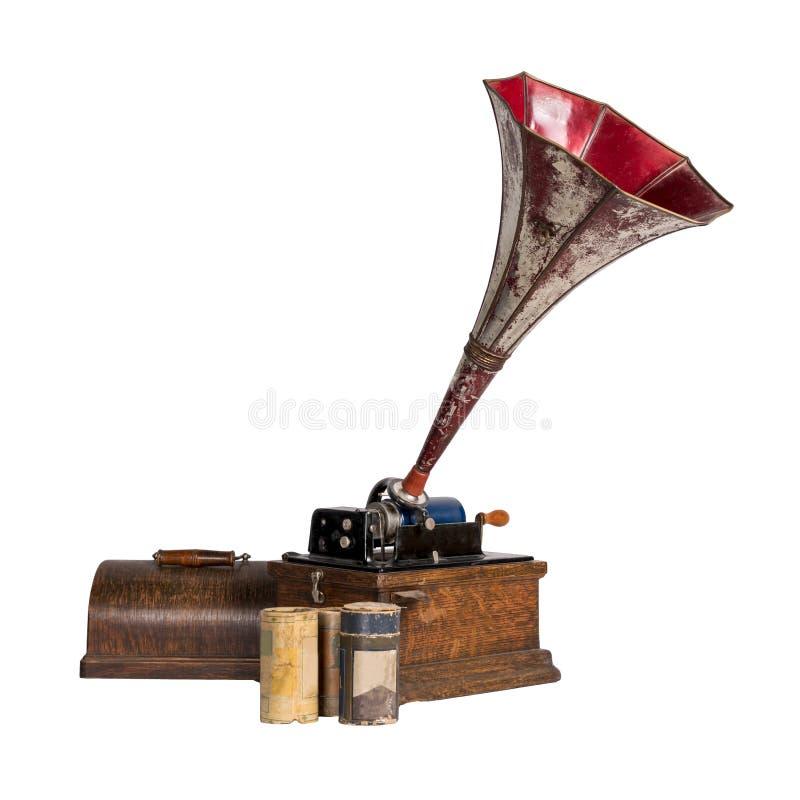 剪出三柱面记录的旧留声机,包括剪切路径 库存图片