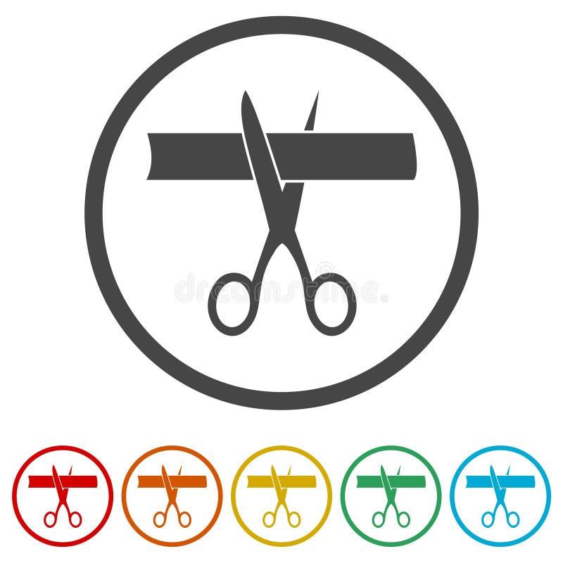 剪刀剪彩,剪彩,包括的6种颜色 向量例证