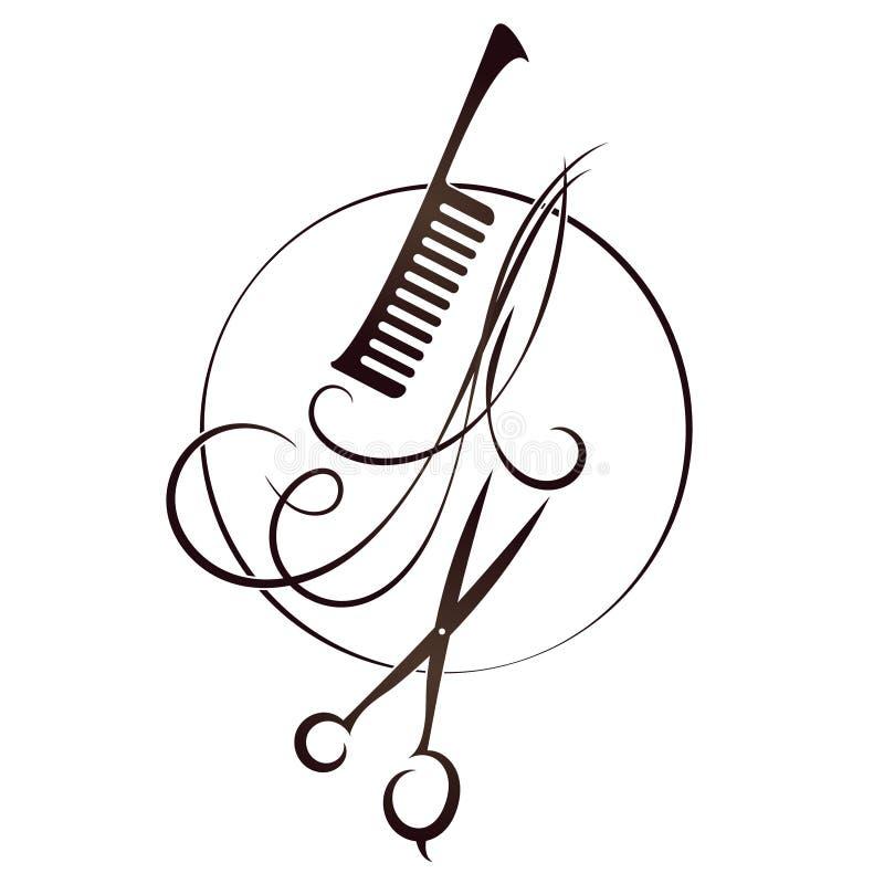 剪刀和发刷标志美发师的.