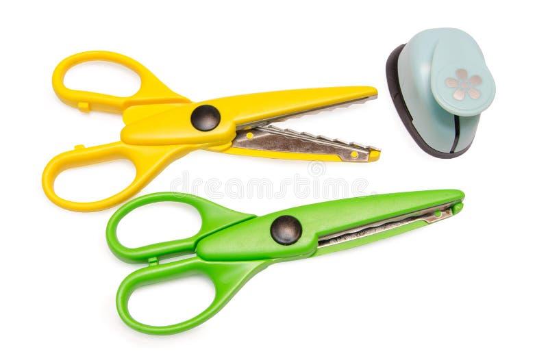 剪刀和查出的工艺工具 免版税库存照片