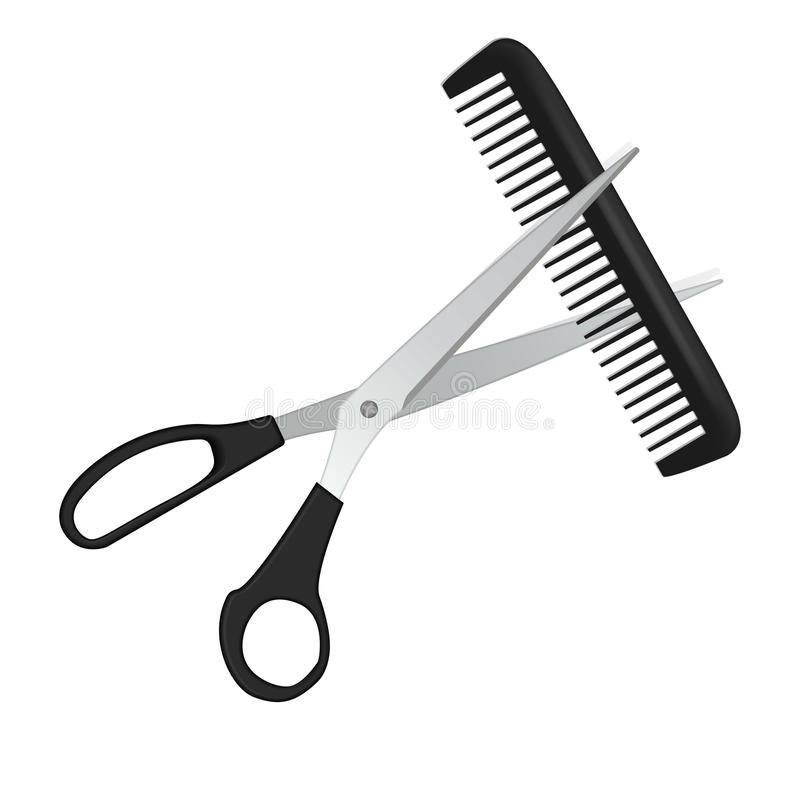 剪刀和梳子在白色隔绝的头发的 皇族释放例证