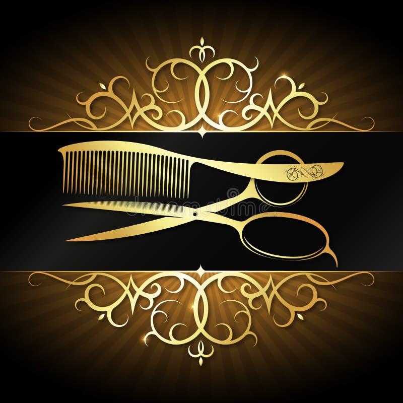 剪刀和梳子有金装饰品框架的 向量例证