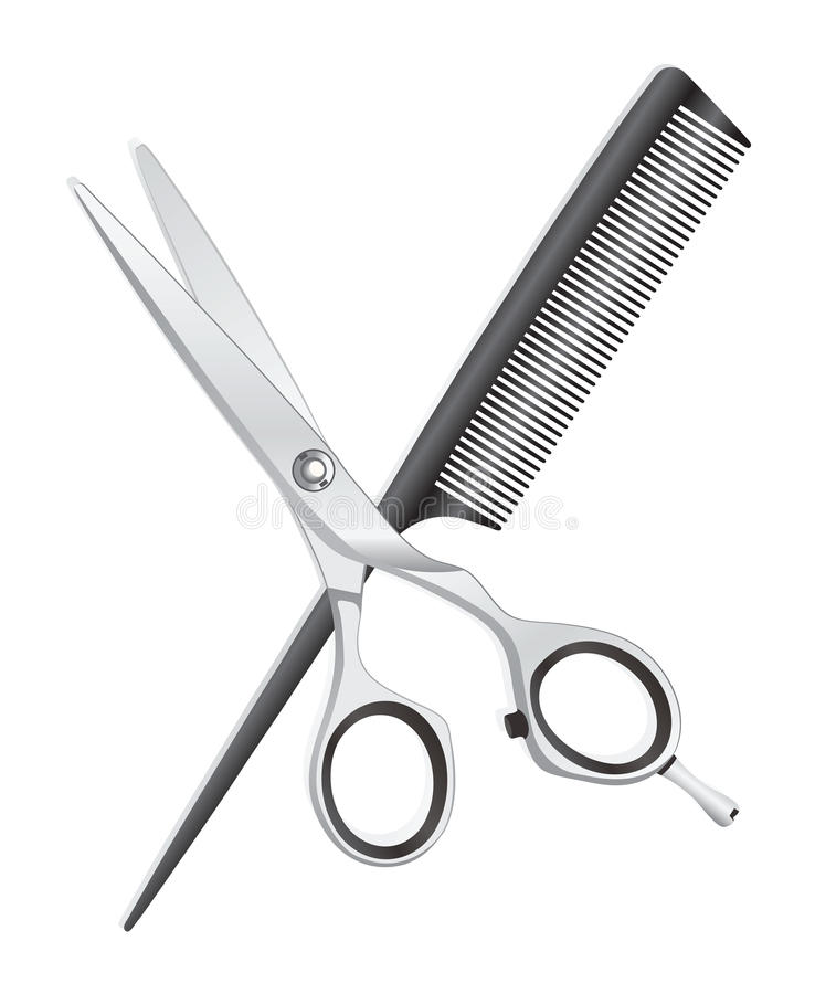 剪刀和梳子 库存例证