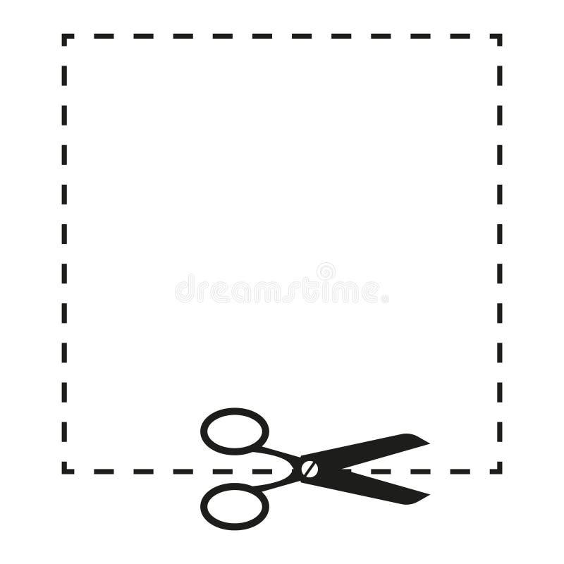 剪刀和破折线标志例证 向量 在白色背景的黑象 向量例证