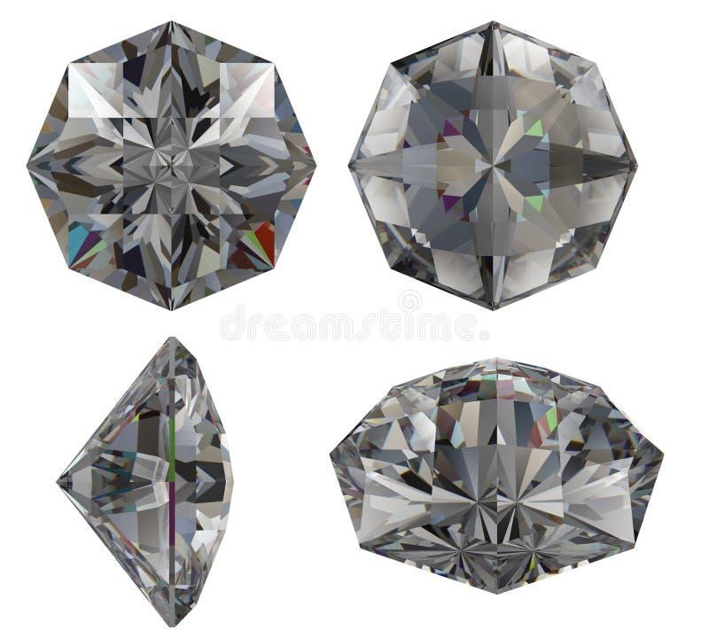 剪切八绿宝石查出的星形 向量例证